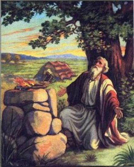 Abraham makes an altar to God