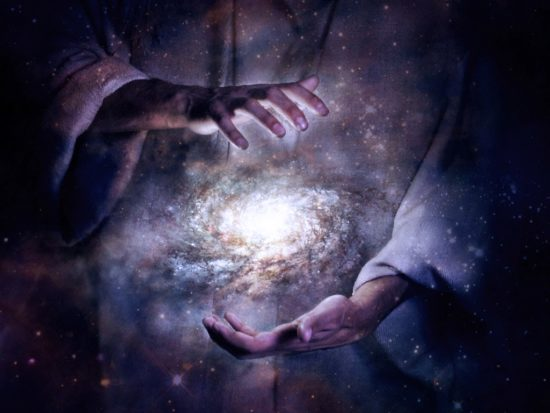 God creating the Milky Way universe