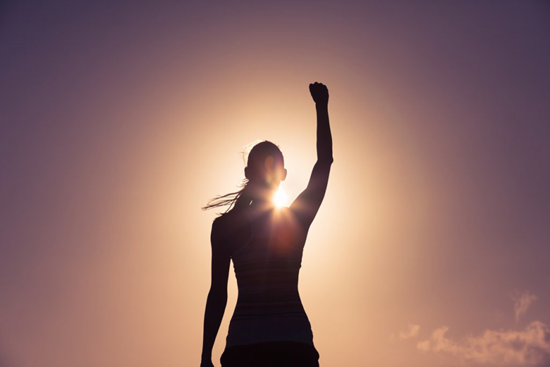 Confidence - raising a fist in victory