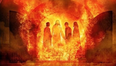 Jesus with Shadrach, Meshach, and Abednego - Unknown Artist