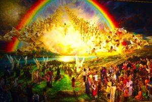 Jesus and the angels leading the Rapture
