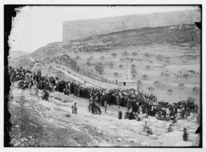Jews gathering at Absalom's Tomb in Kidron Valley (about 1920)