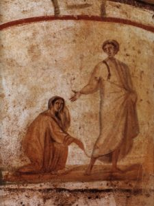 Christ healing a bleeding woman - Catacombs of Marcellinus and Peter
