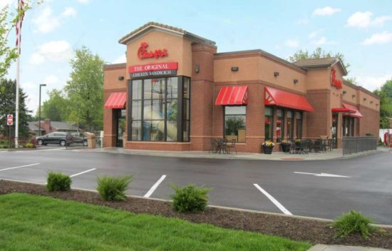 Chick-fil-A restaurant building and parking lot