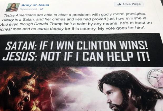 Fake Russian Facebook ad biased against Clinton