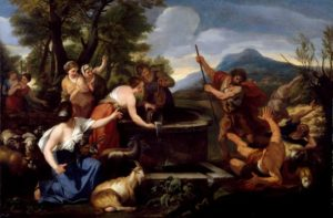 Moses and the Daughters of Jethro - Ciro Ferri (about 1650)