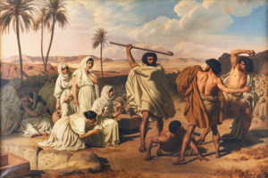 Moses defending the daughters of Jethro - Eugene Roger (1837)