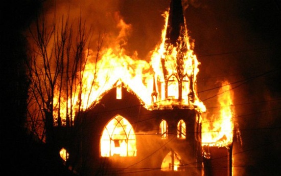 Christian church on fire