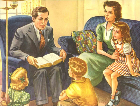 Family in living room reading the bible