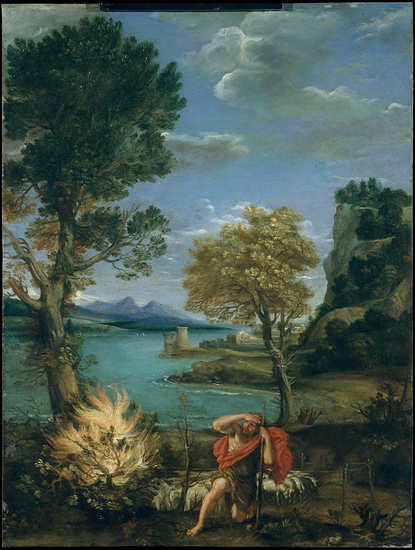 Landscape with Moses and the Burning Bush - 1610-1616 (Domenico Zampieri)