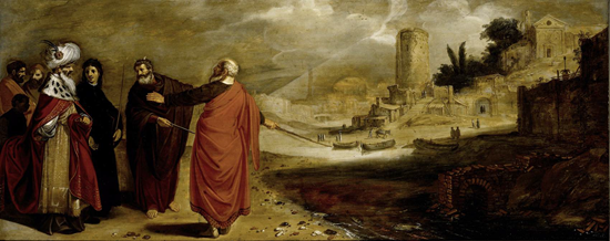 Aaron (Moses) changes the water of the Nile into blood - Jan Symonsz (1610)