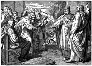 Aaron's rod turning serpent before Pharaoh and his officials - Artist Unknown