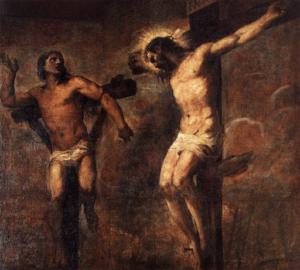 Christ and the good thief (Jesus on the cross) - Titian (1566)