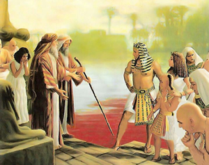 Moses turns the Nile River to blood - Artist Unknown