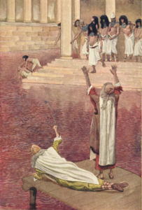 Water is changed into blook (Moses) - James Tissot (1903)