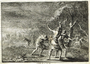 Plagues of Egypt - locusts copper engraving - Artist unknown (1700)