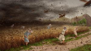 The eighth plague - plague of locust - Artist unknown
