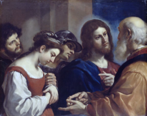 The woman taken in adultery - Guercino (1621)