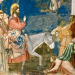 Jesus arrives in Jerusalem on a donkey - Artist Unknown