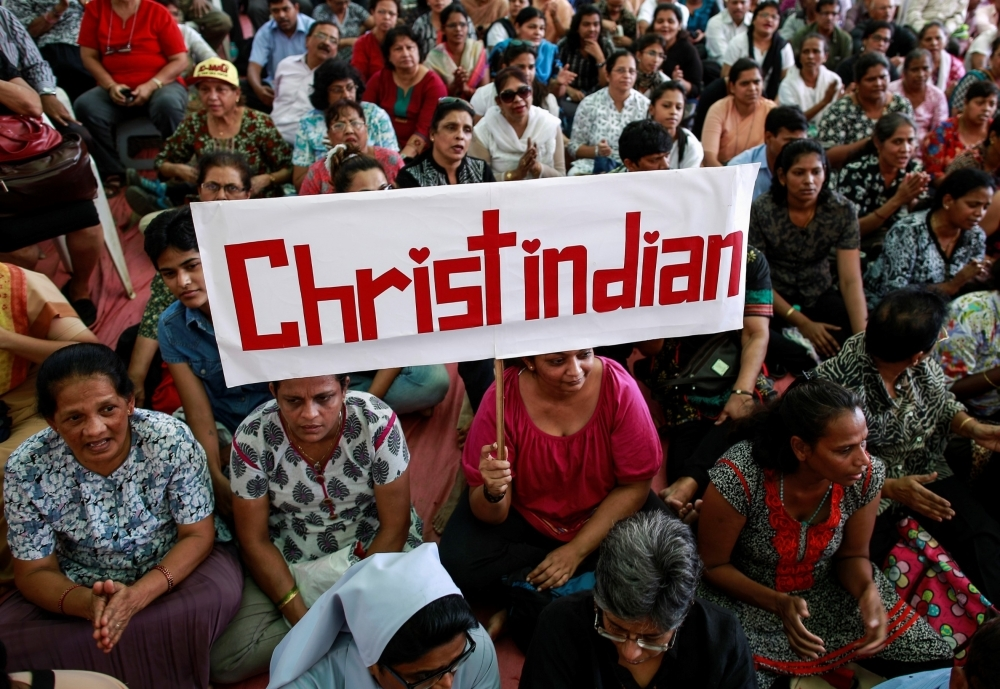 Indians protesting India's prohibition of religious conversions