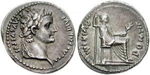 A denarius coin featuring Tiberius Caesar.