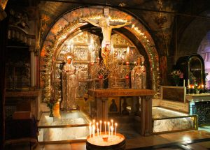 Altar of the Crucifixion (rock of Calvary encased in protective glass) - Church of the Holy Sepulchre
