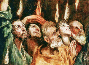 Apostles with tongues of fire over heads - Unknown Artist