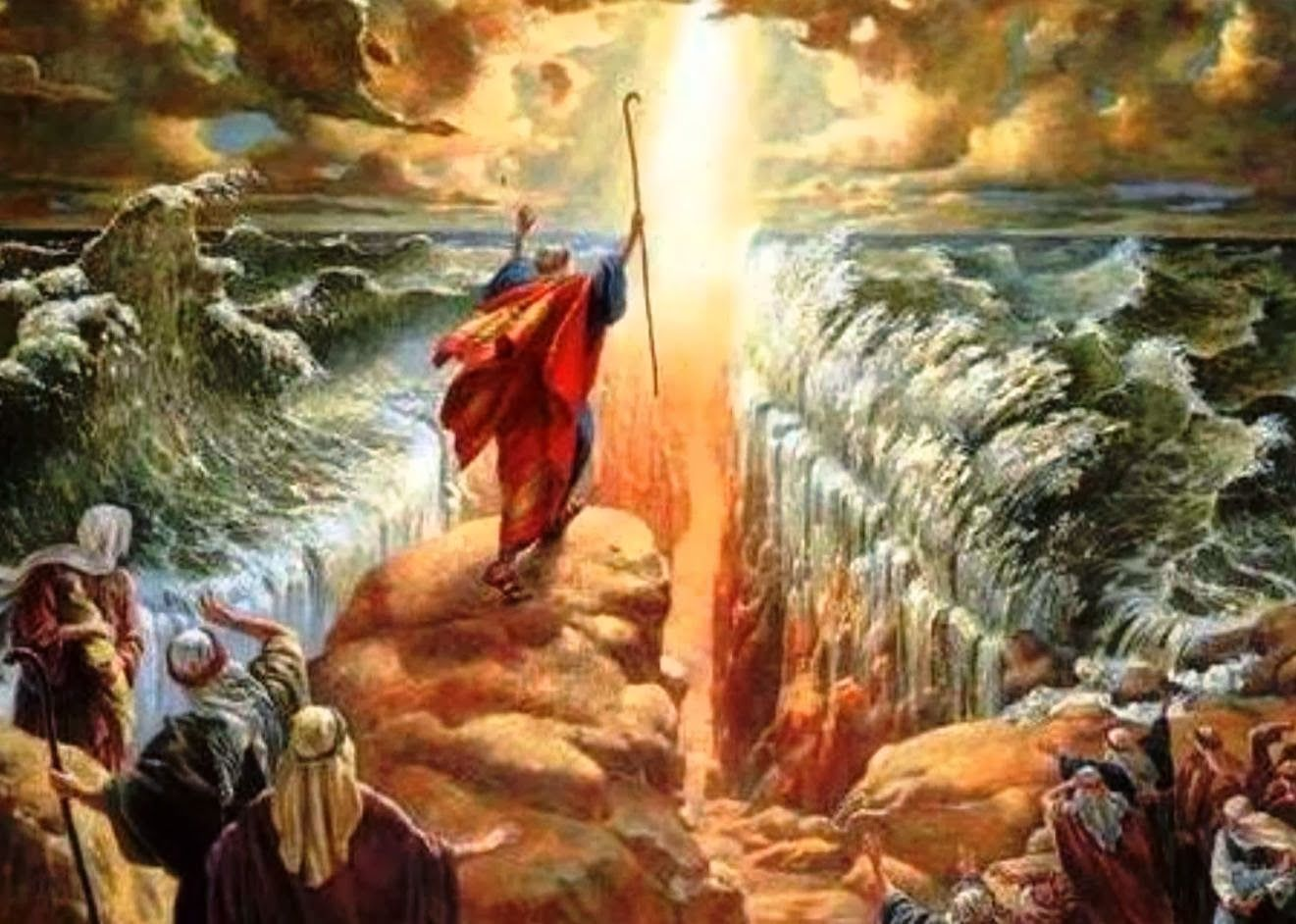 Moses parts the Red Sea - Artist Unknown