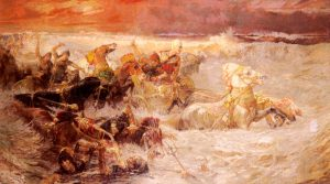 Pharaoh's army engulfed by the Red Sea, painting by Frederick Arthur Bridgman (1900)