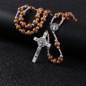 Rosary Beads/Prayer Beads Cross Necklace Wood Silver Beads Metal Pendant close 3