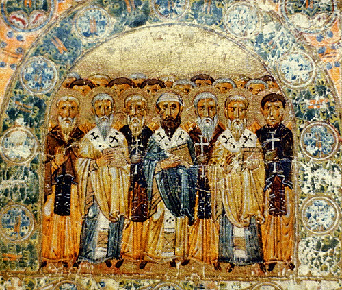 The Church Fathers, an 11th-century Kievan Rus' miniature from Svyatoslav's Miscellany