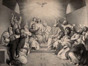 Tongues of fire descend on the apostles at Pentecost. Lithograph.