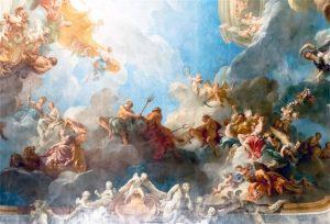 Versailles ceiling angels in heaven mural