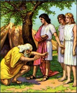 Abraham meets God and the three angels