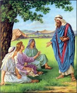 Abraham feeds three guests