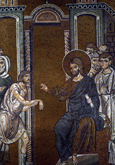 Christ heals the man with paralysed hand. Byzantine mosaic in the Cathedral of Monreale.