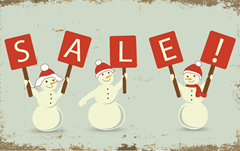 Christmas sale sign with snowmen