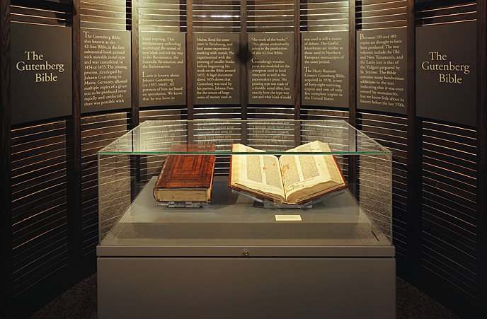 Copy of a Gutenberg Bible in a display case