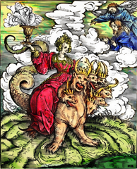 Woodcut by Hans Burgkmair, for Martin Luther's translation of the New Testament, depicting the Whore of Babylon riding the seven-headed Beast - 1523