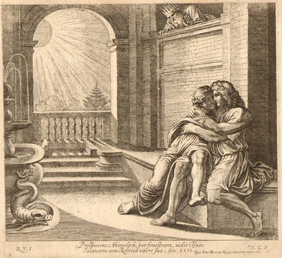 bimelech spies on Isaac and Rebekah / Abimelech spies on Isaac and Rebekah