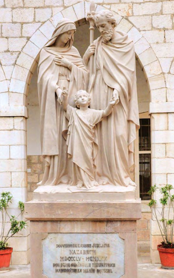 Statue in front of the convent of Joseph and Mary with Baby Jesus - clearly indicates the nuns believe the home belonged to Jesus' family