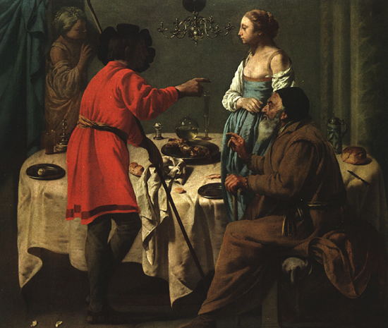 Terburgghen Jacob Reproaching Laban 1628. Oil on canvas, 123,5 x 157,5 cm. Wallraf-Richartz Museum, Cologne