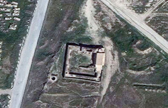Satellite photo of St. Elijah's Monastery before ISIL destroyed it