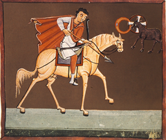 The first horseman, Conquest on the White Horse as depicted in the Bamberg Apocalypse (1000-1020)