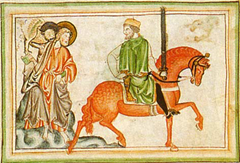 he second horseman, War on the Red Horse as depicted in a thirteenth-century Apocalypse manuscript