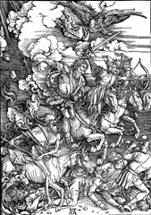 The Horsemen of the Apocalypse, depicted in a woodcut by Albrecht Dürer (ca. 1497–98)