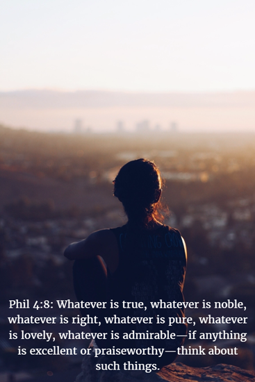 Phil 4:8: Whatever is true, whatever is noble, whatever is right, whatever is pure, whatever is lovely, whatever is admirable—if anything is excellent or praiseworthy—think about such things.