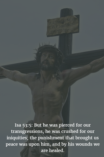 Isa 53:5: But he was pierced for our transgressions, he was crushed for our iniquities; the punishment that brought us peace was upon him, and by his wounds we are healed.