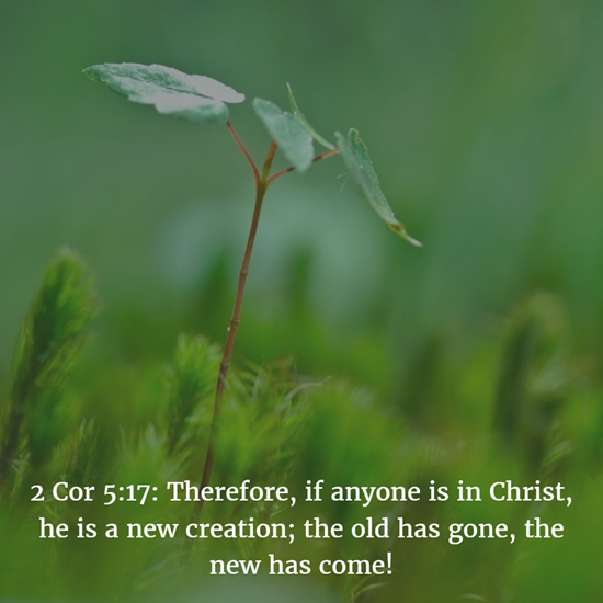 2 Cor 5:17: Therefore, if anyone is in Christ, he is a new creation; the old has gone, the new has come!