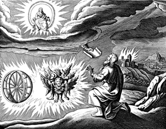 Ezekiel's first vision – four living creatures accompany a prophetic